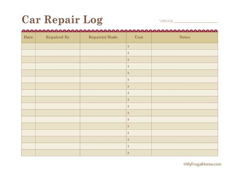 Printable Car Repair Log