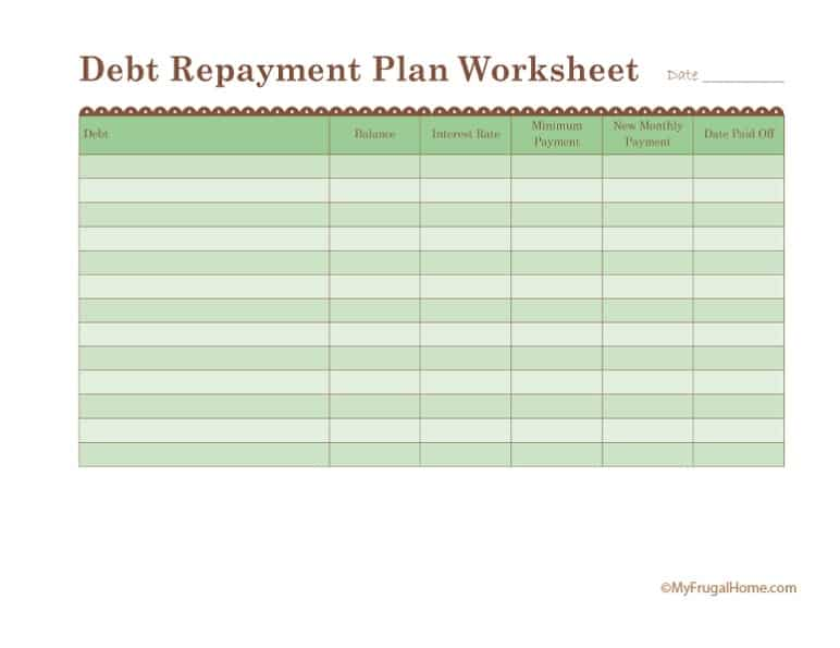 Printable Debt Repayment Plan Worksheet