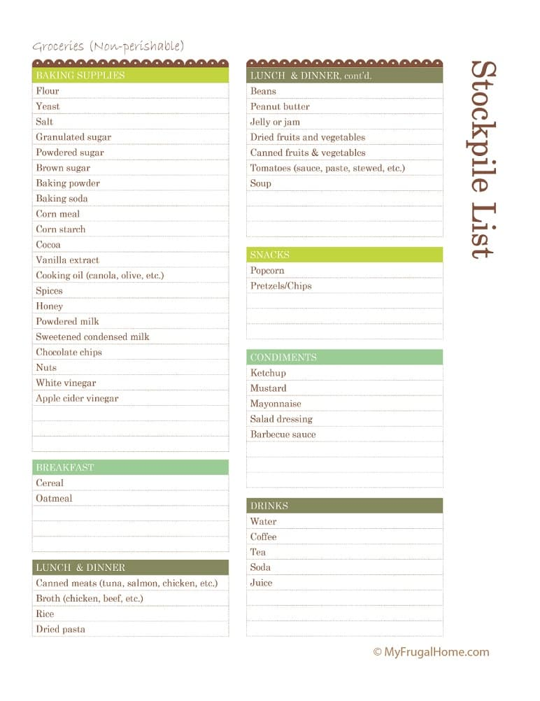 Printable Grocery Stockpile List