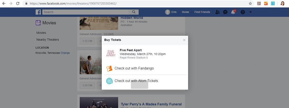 Facebook Movies Checkout Pop Up