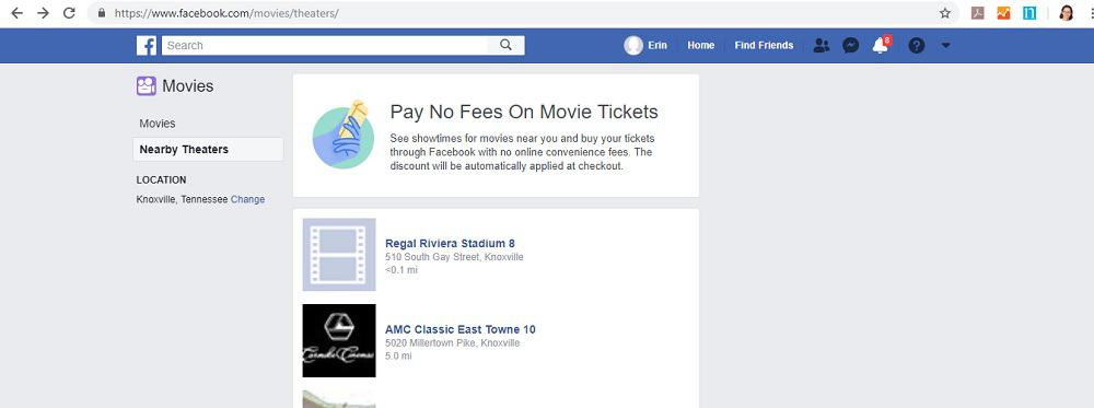 Screenshot of Facebook's Movies Page