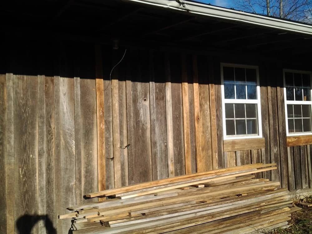 Siding on Front of Cabin