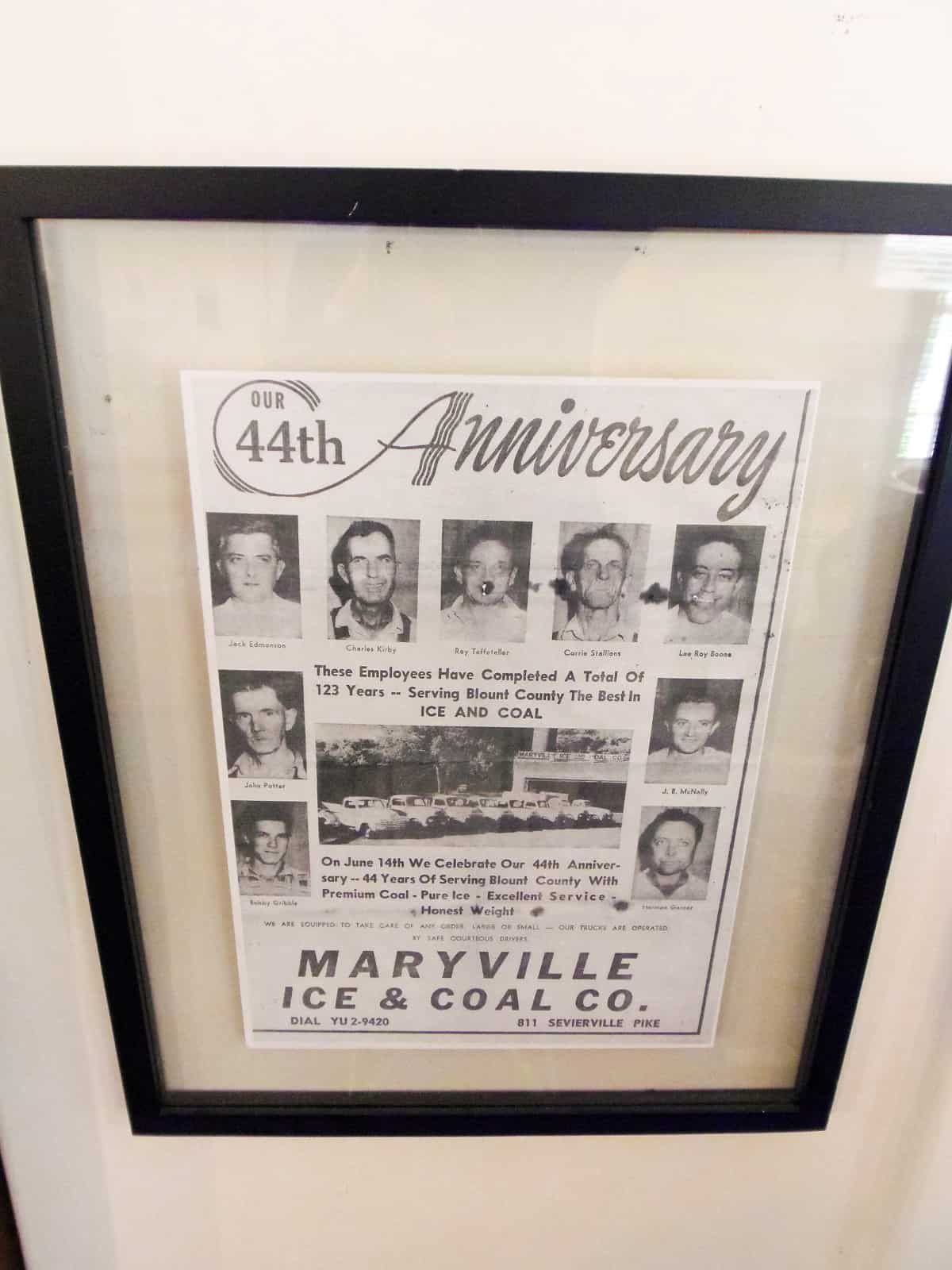 Maryville Ice & Coal 44th Anniversary Newspaper Advertisement