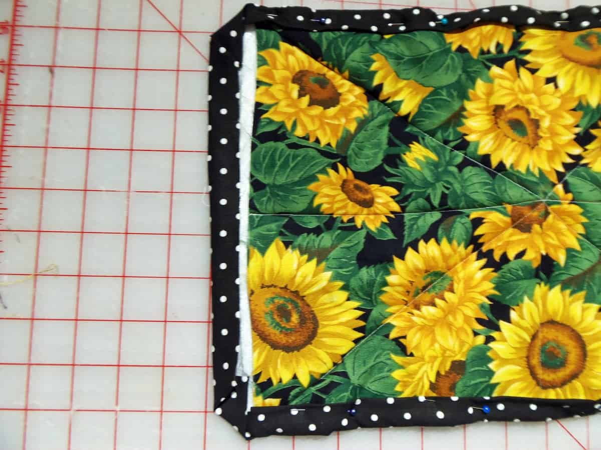 Fold the Binding in on the Short Sides of the Hot Pad