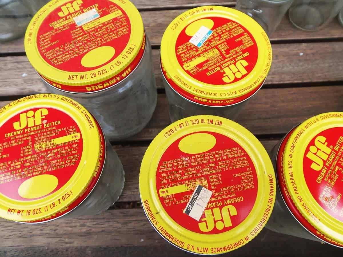 Vintage Jif Peanut Butter Jars