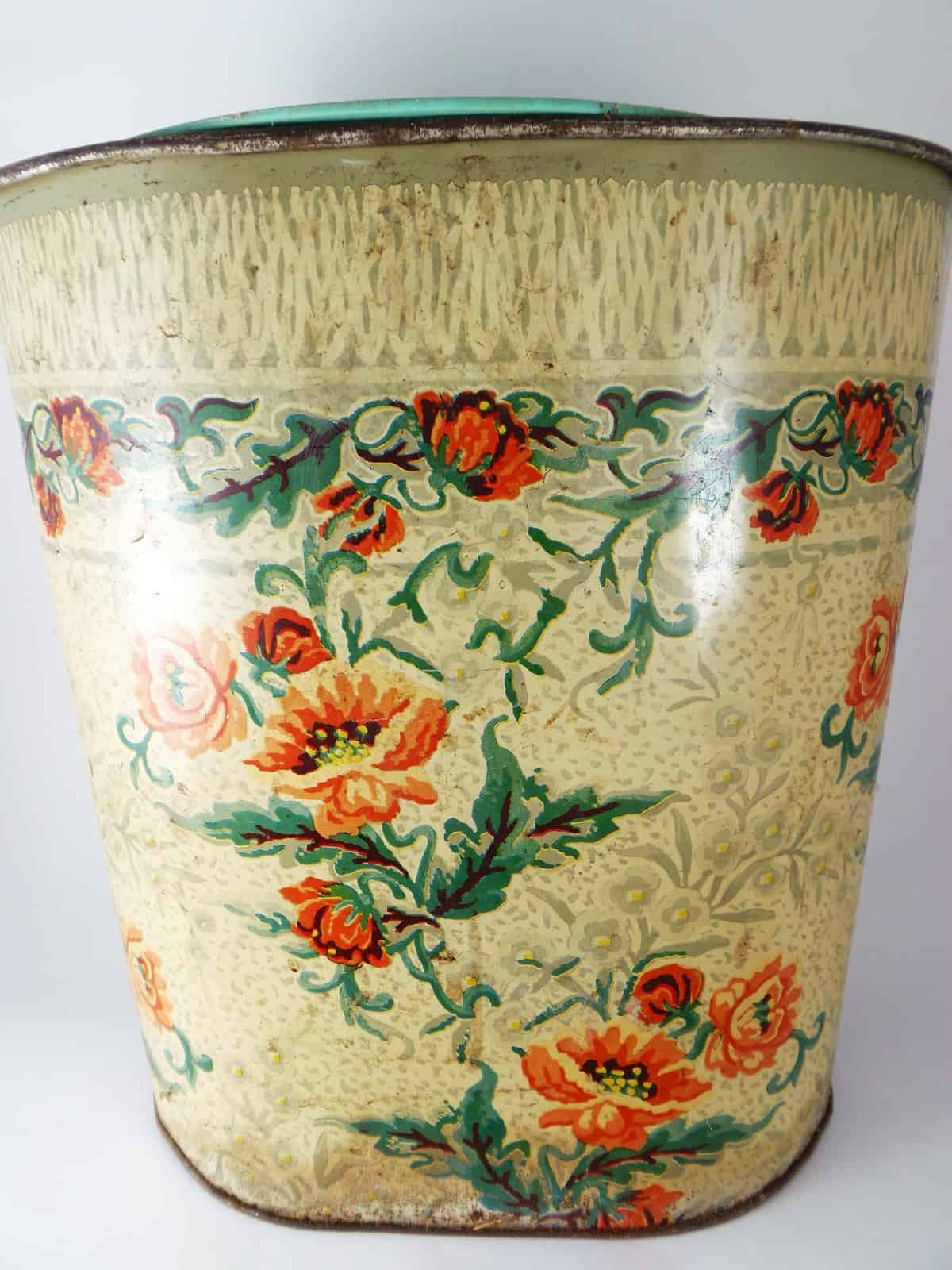 Vintage Floral Trash Can