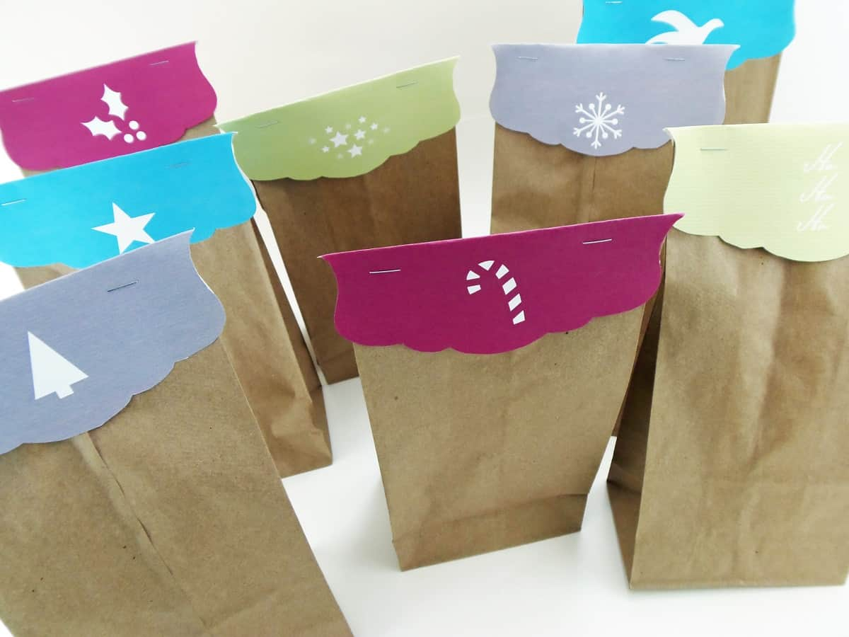 Christmas Silhouette Bag Toppers on Paper Bags