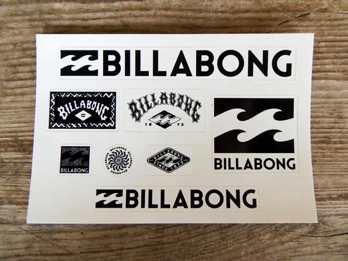 Free Sheet of Billabong Stickers