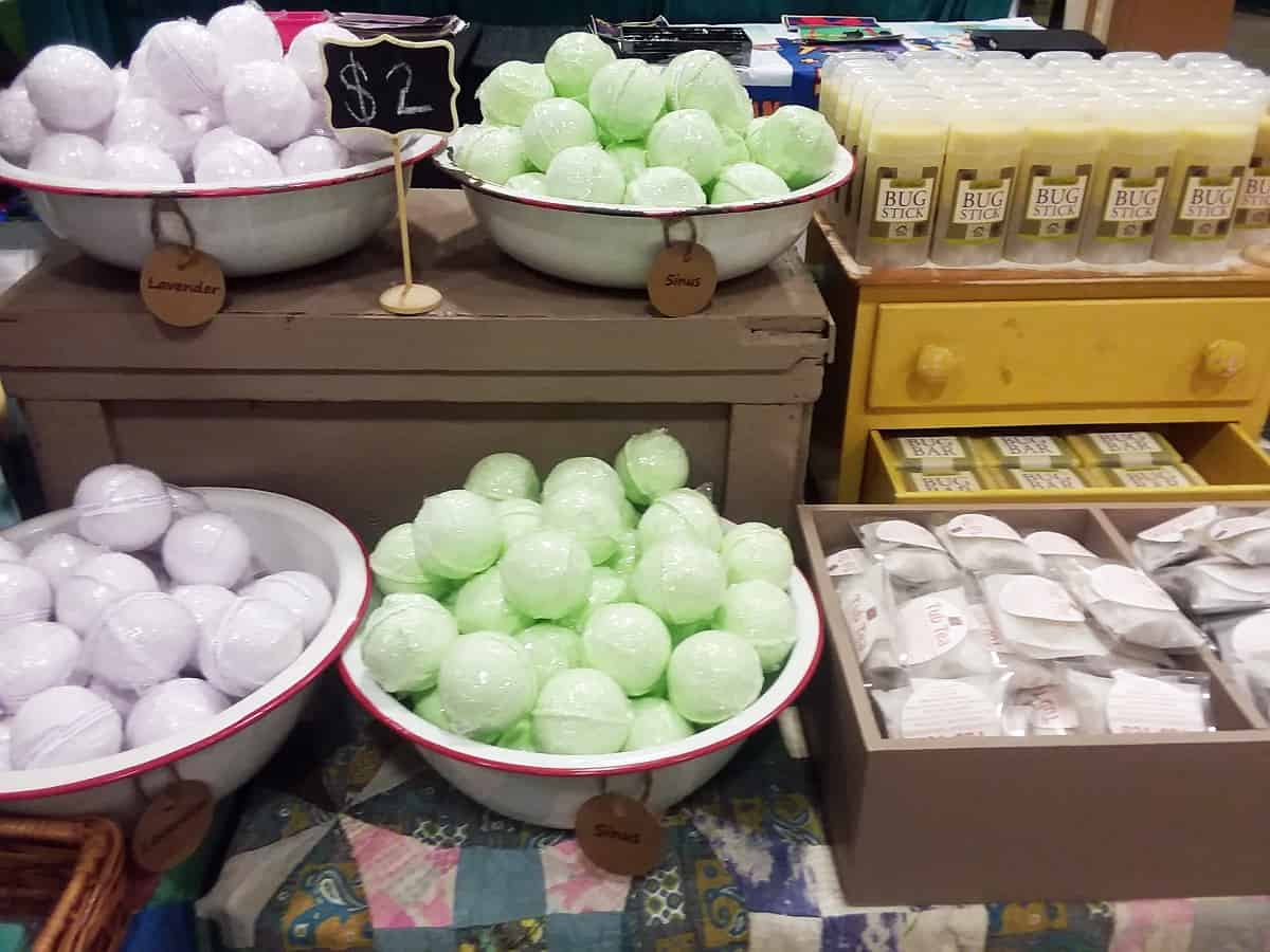 Display of Bath Bombs, Tub Teas and Bug Sticks
