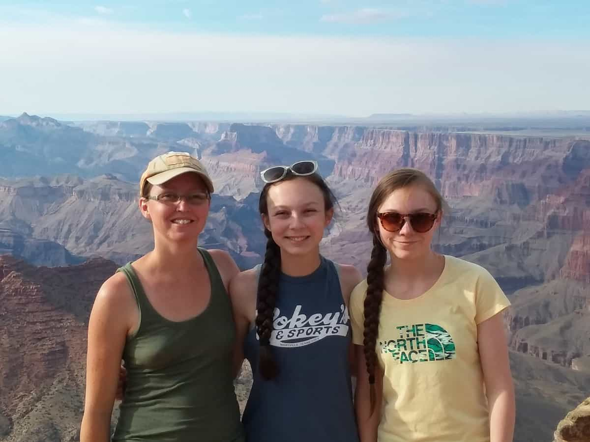 Mom and the Girls Standing in Front of Grand Canyon