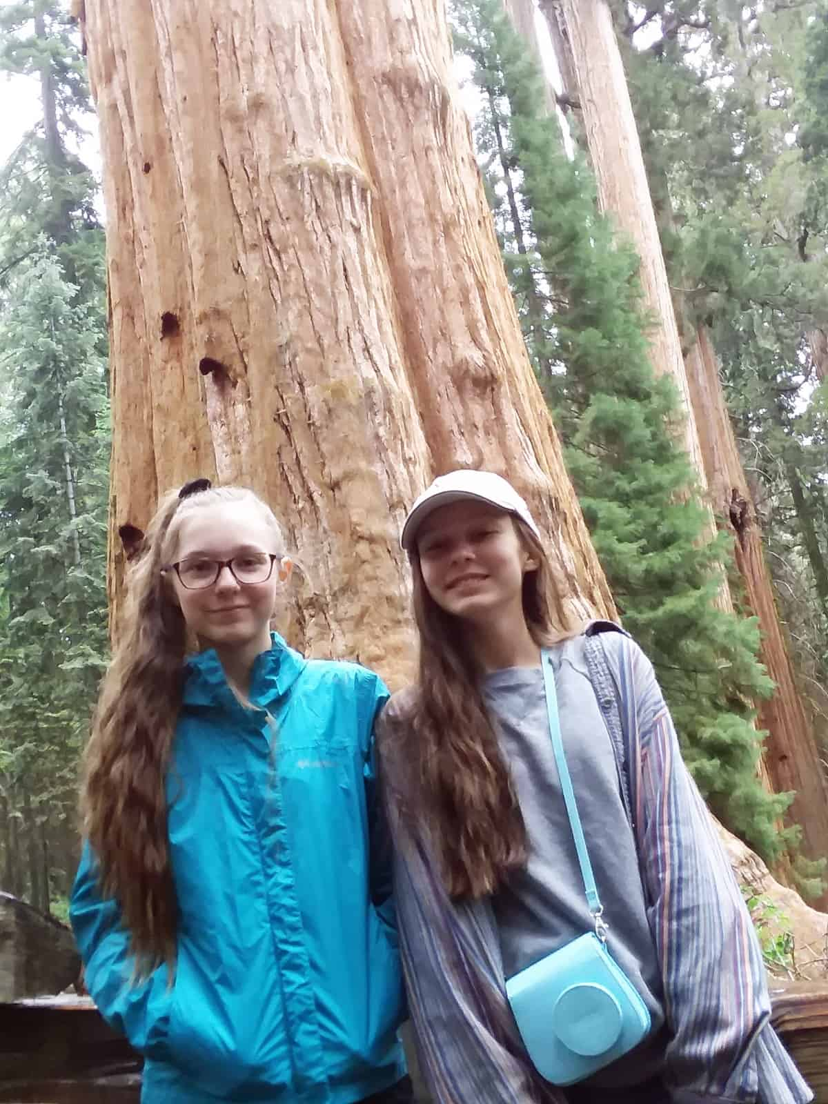 Girls in Front of Giant Sequoia