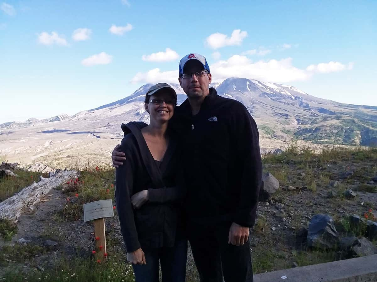 Aaron and Erin in Front of Mount St. Helens