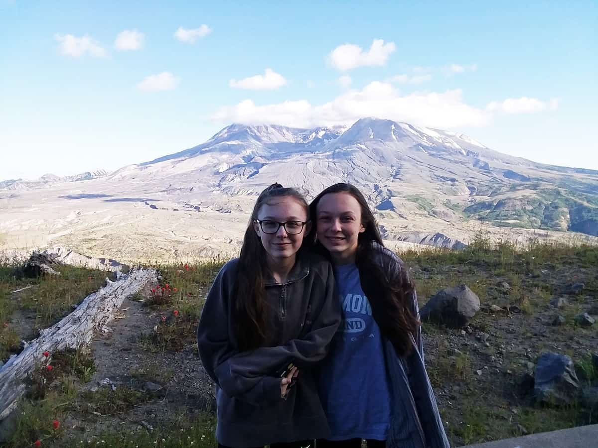 The Girls Standing in Front of Mount St. Helens