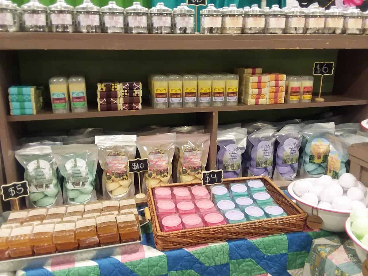 Display of Shower Steamers, Lotions and Soaps
