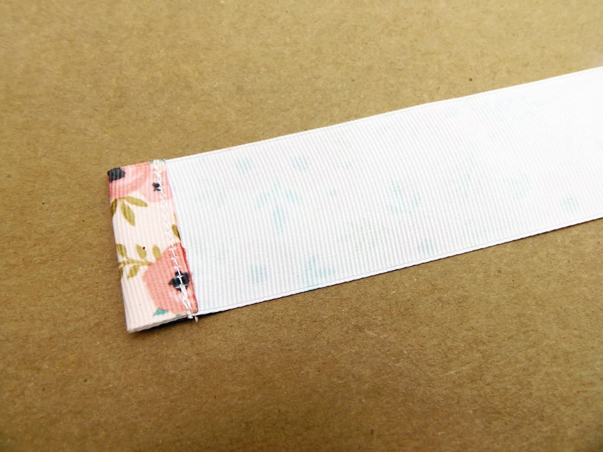 Sew a Half-Inch Hem on One End of the Ribbon