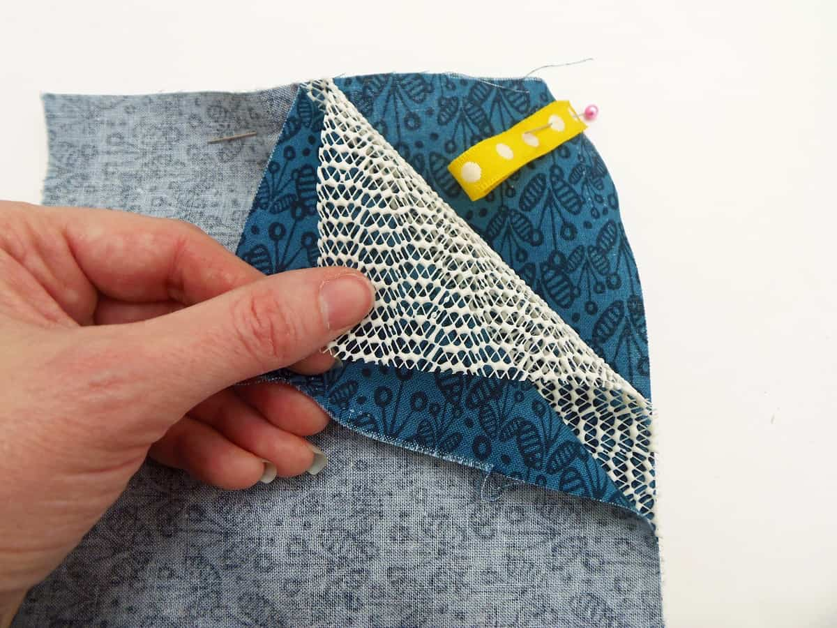 Pin the Fabric and Rubber Shelf Liner Together