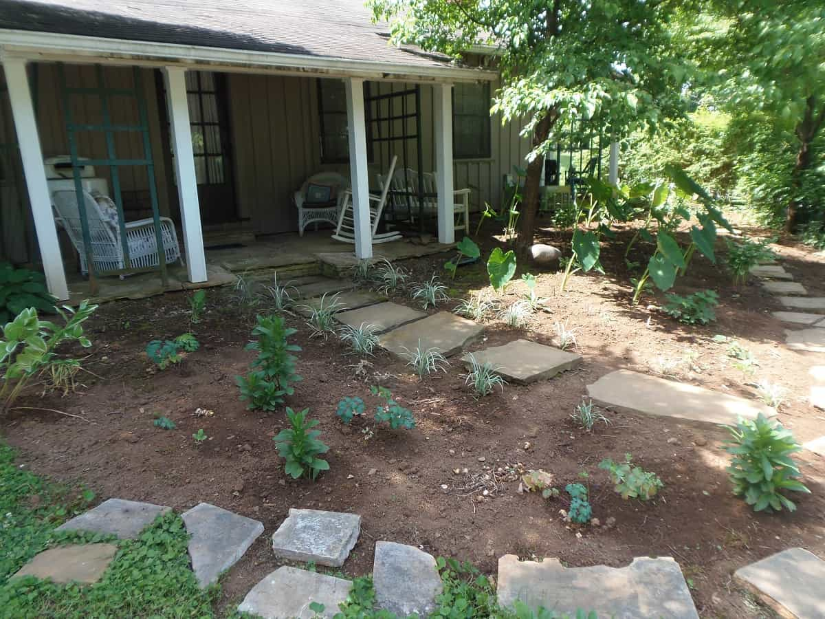 Beds and Garden Paths in Front of Porch