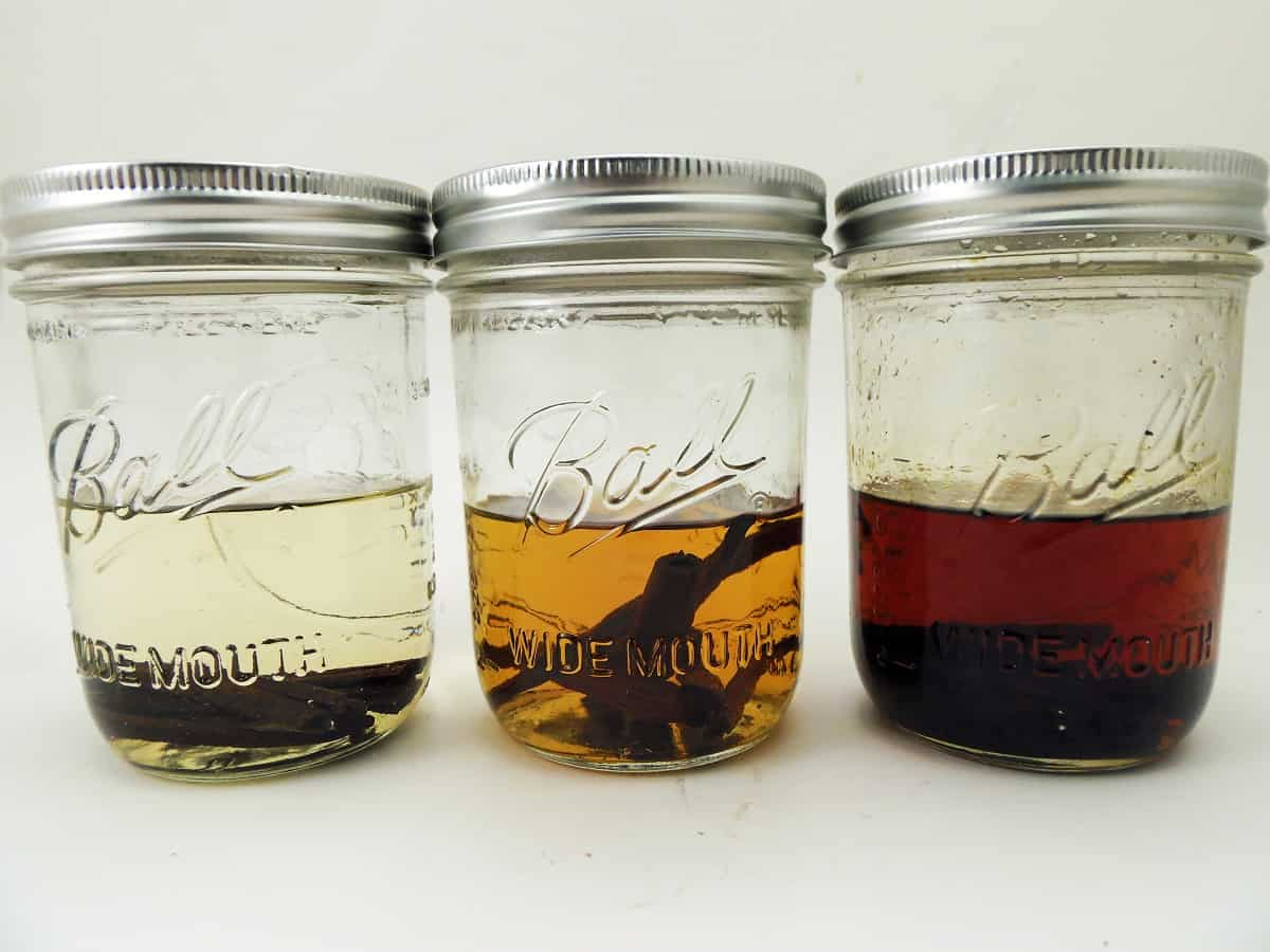 Homemade Vanilla Extract at Three Different Stages