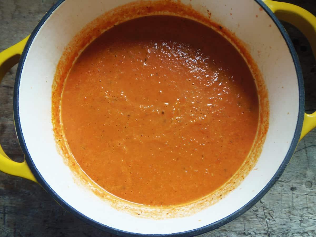 Pot of Creamy Tomato Soup