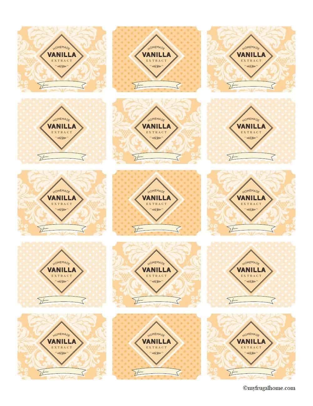Printable Vanilla Extract Labels