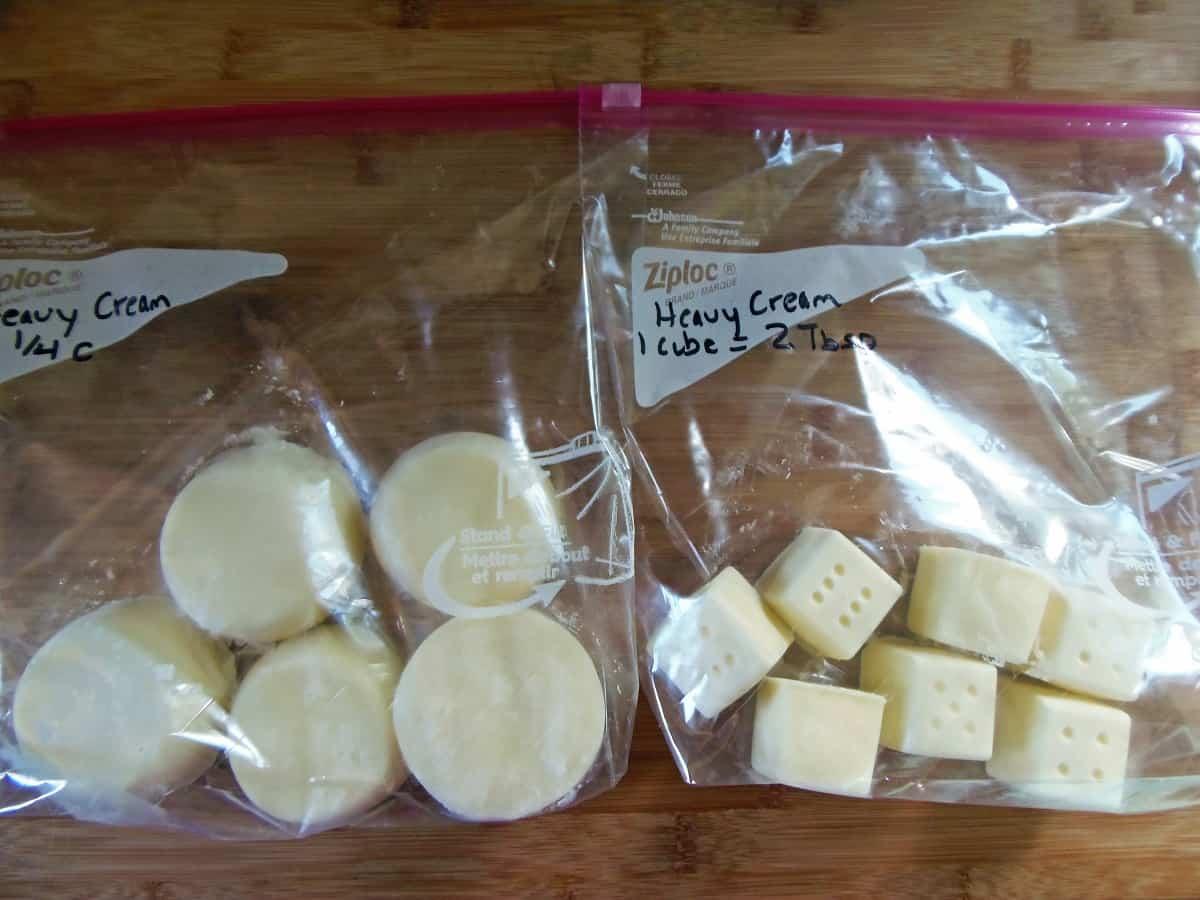Bags of Frozen Heavy Cream