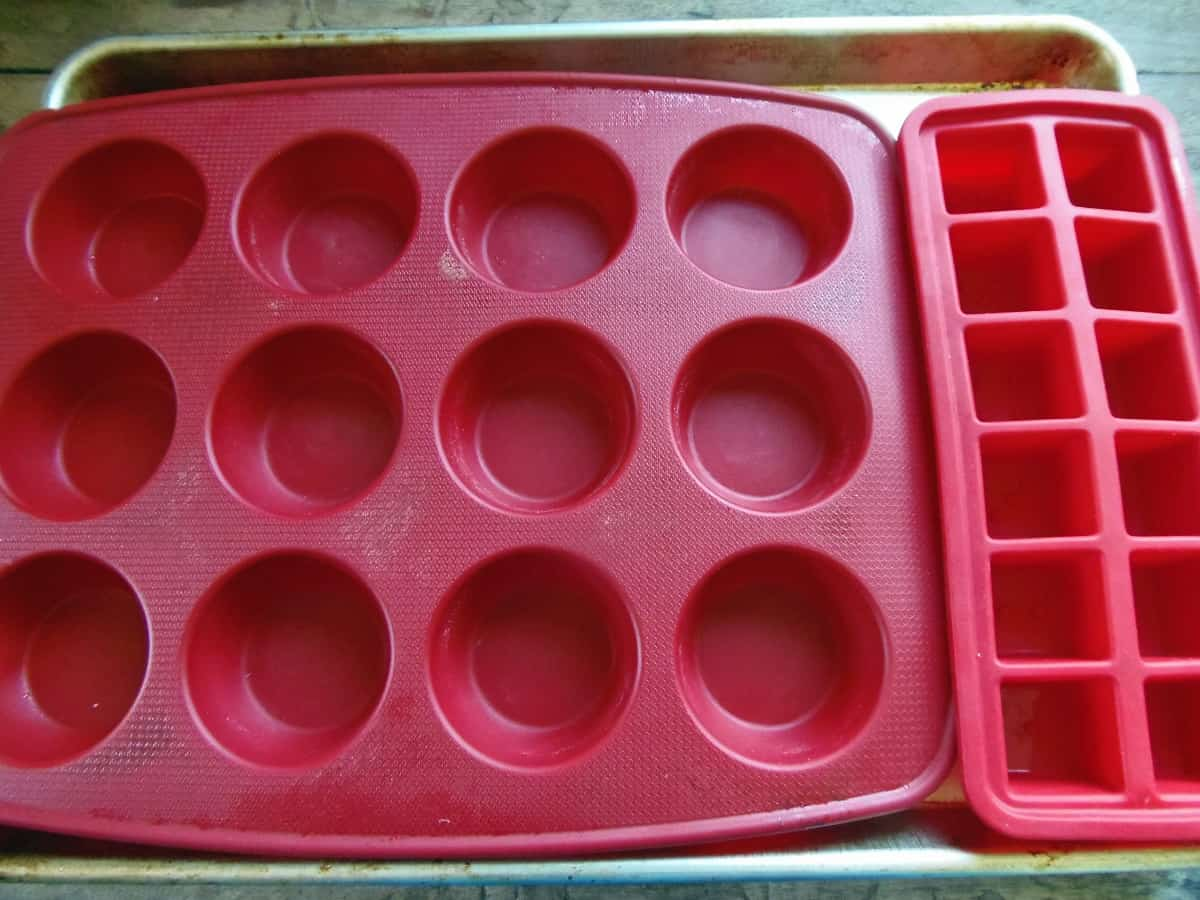Muffin Pan and Ice Cube Tray on a Cookie Sheet
