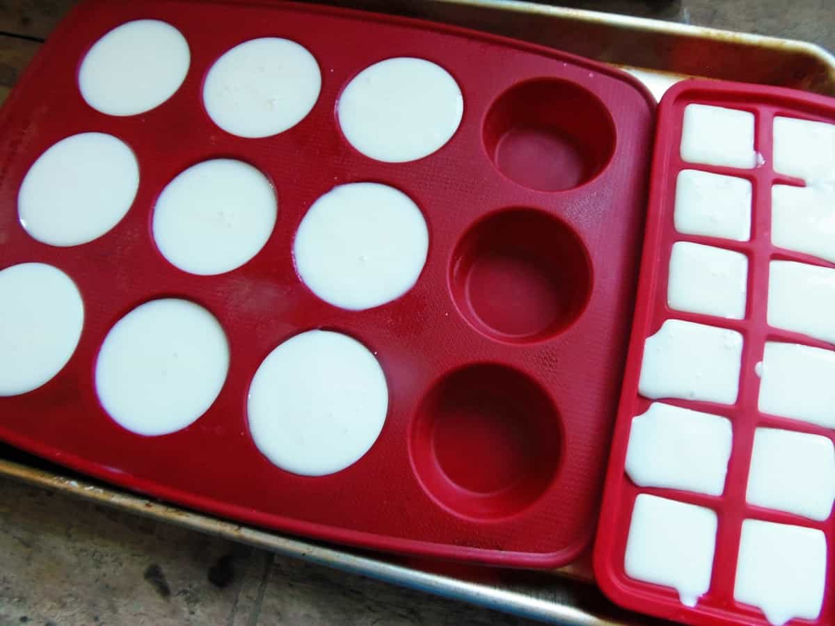 Pour Buttermilk into Muffin Pans and Ice Cube Trays
