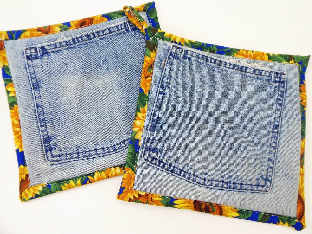 Jean Pocket Potholders With Sunflowers