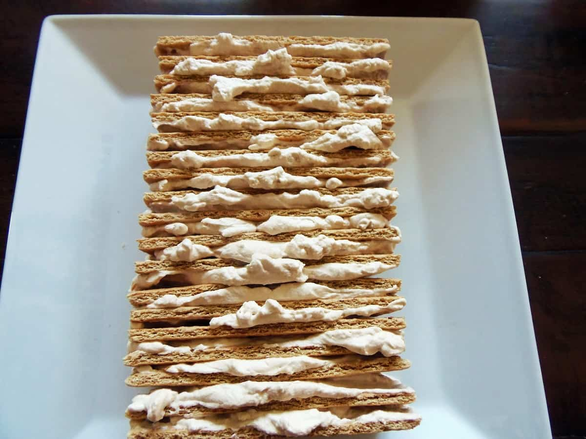 Stack Alternating Layers of Coffee Whipped Cream and Graham Crackers