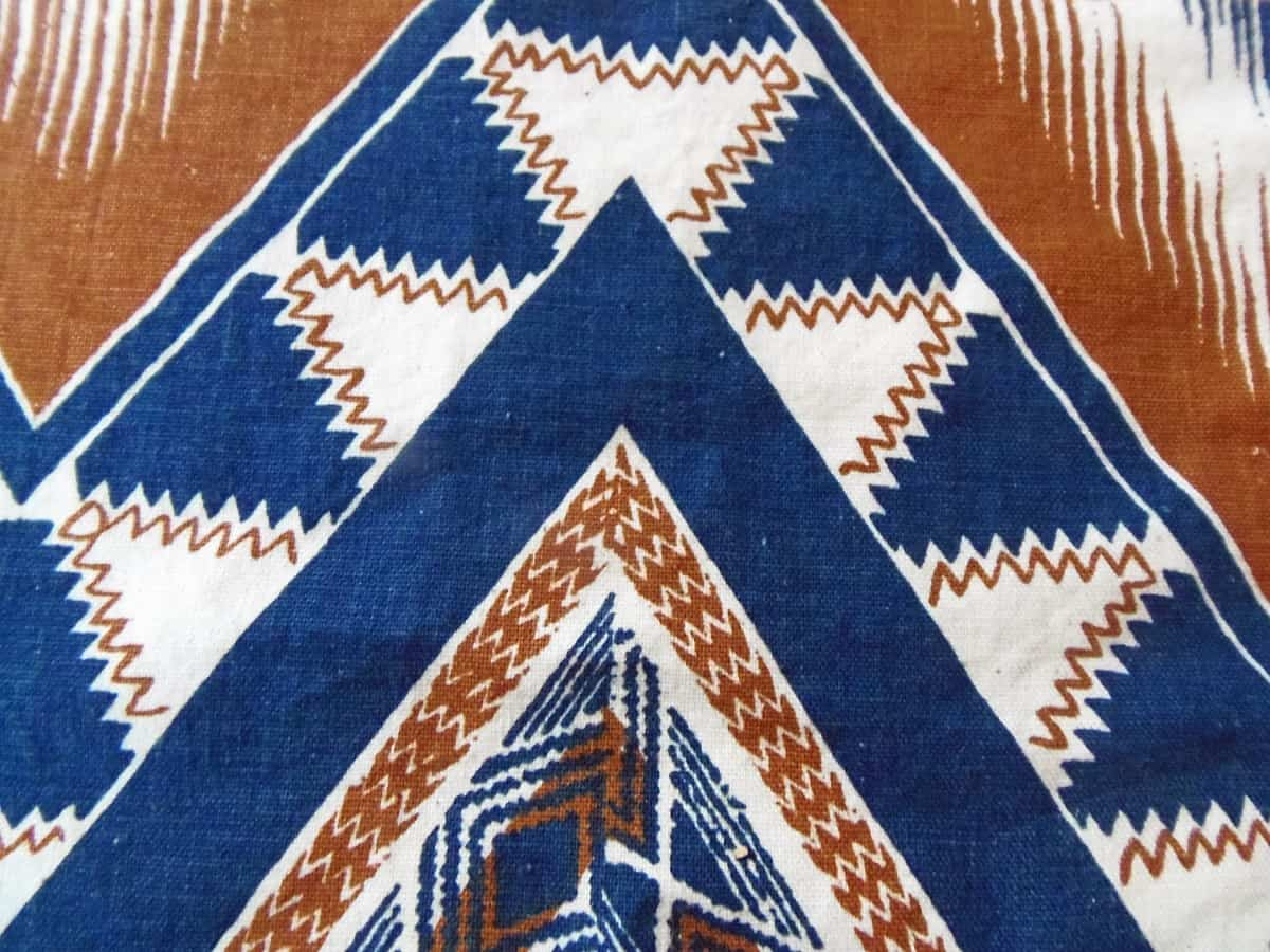 Vintage Screen-Printed Fabric in Navy and Brown