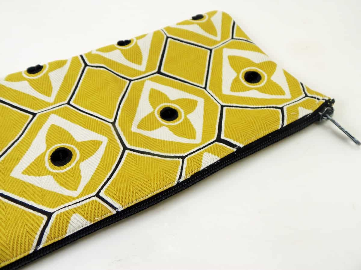Gold Floral Zipper Pouch