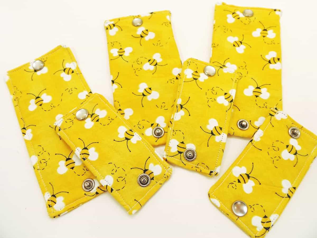 Yellow Bee Print Cord Wraps