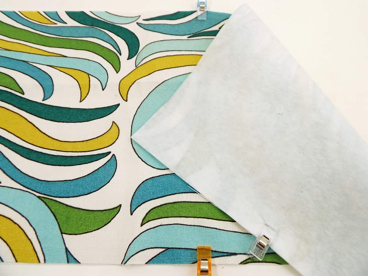 """Pin or Iron Interfacing on Back of 10"""" x 20"""" Piece of Fabric"""