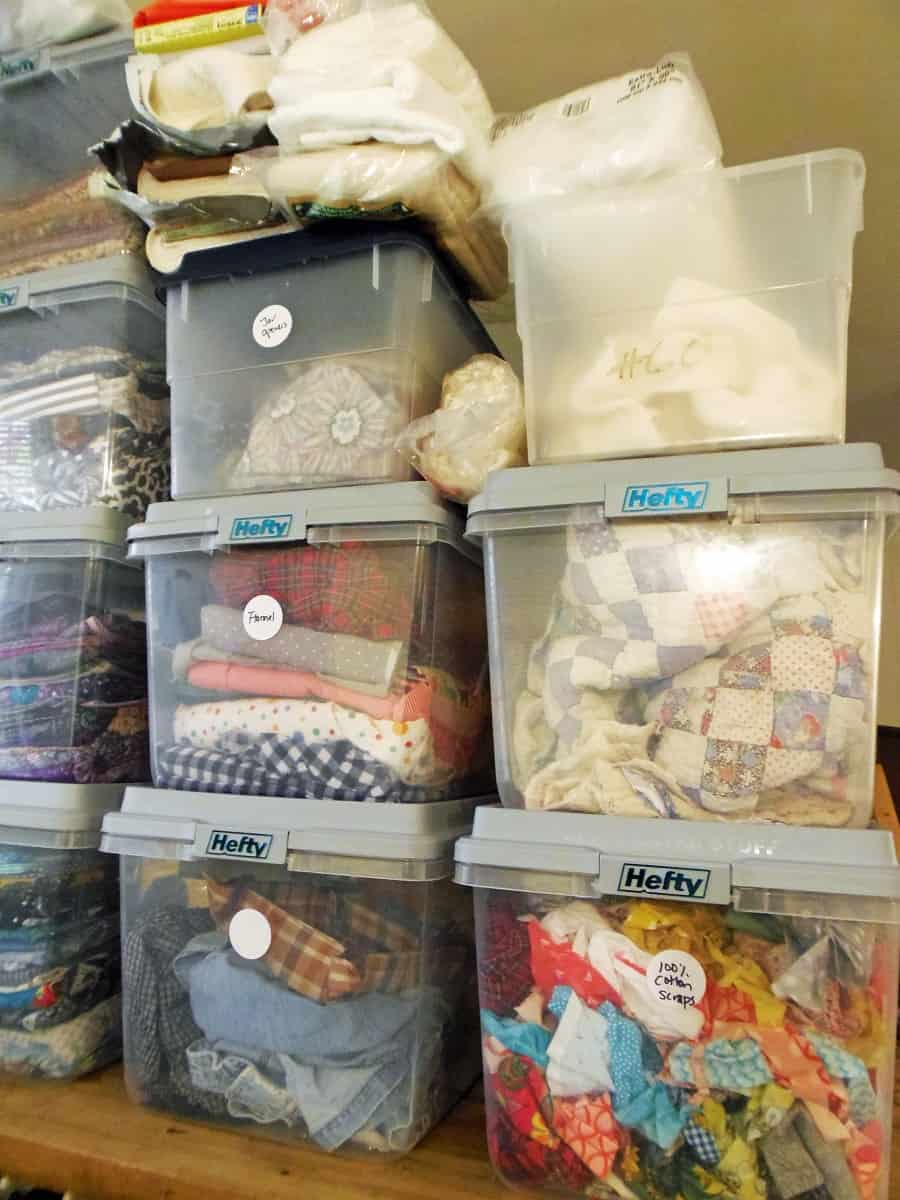 Batting, Flannel and Fabric Scrap Storage