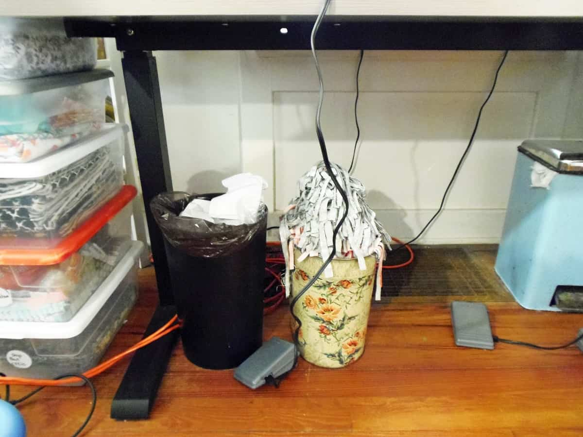 Trashcans Under Sewing Table