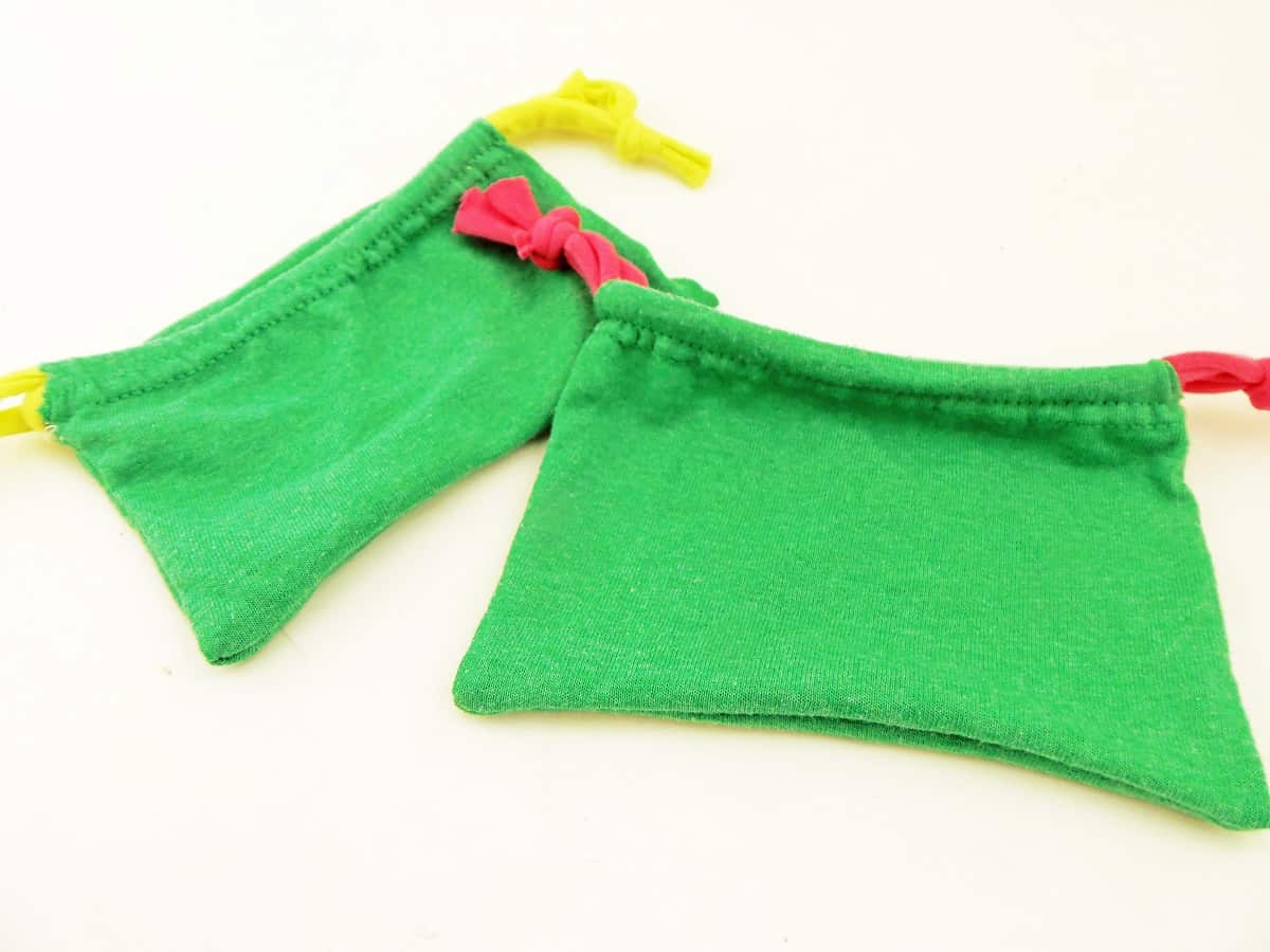 Two Drawstring Gift Bags Made From T-Shirt Sleeves