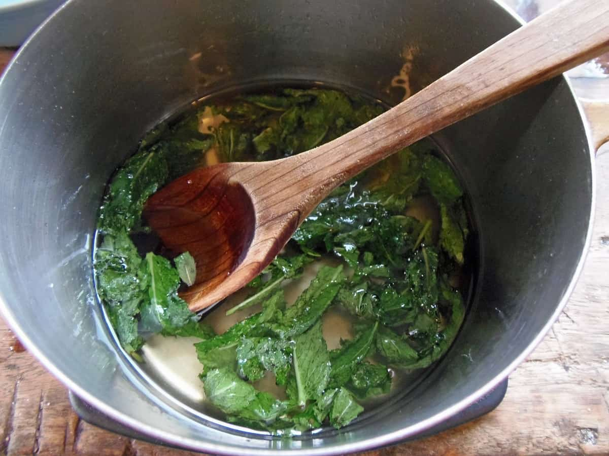 Add Peppermint Leaves and Let Them Steep