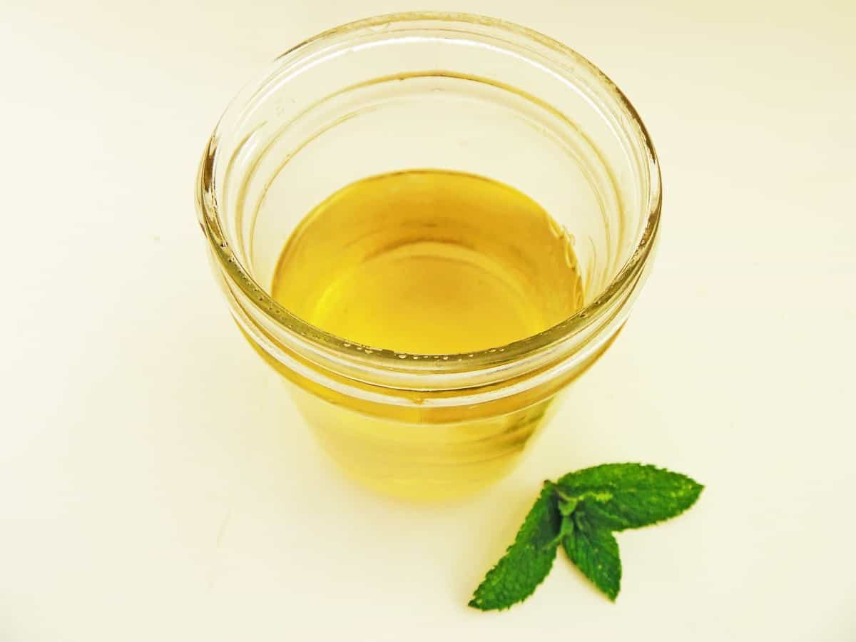 Jar of Peppermint Simple Syrup