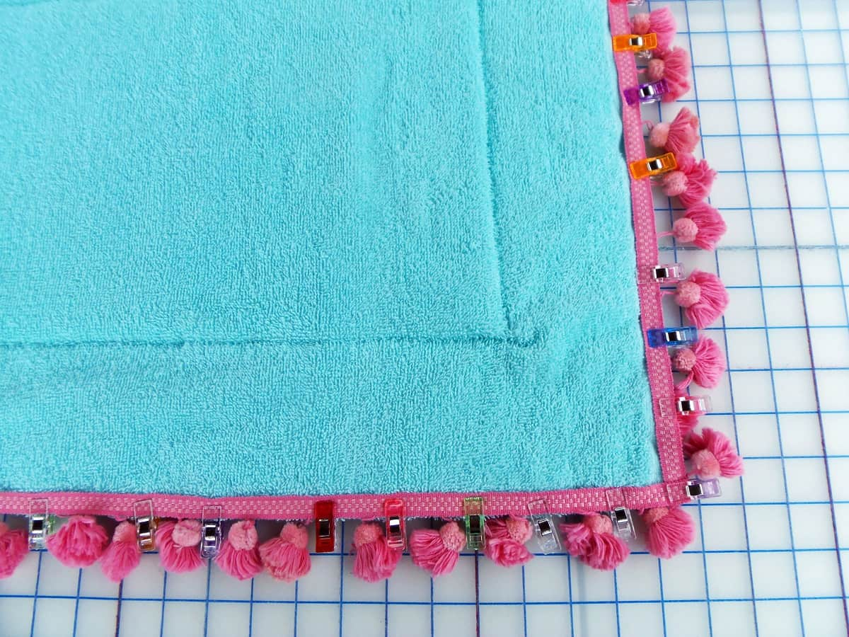 Sew Trim to Front Side of Bath Mat Runner