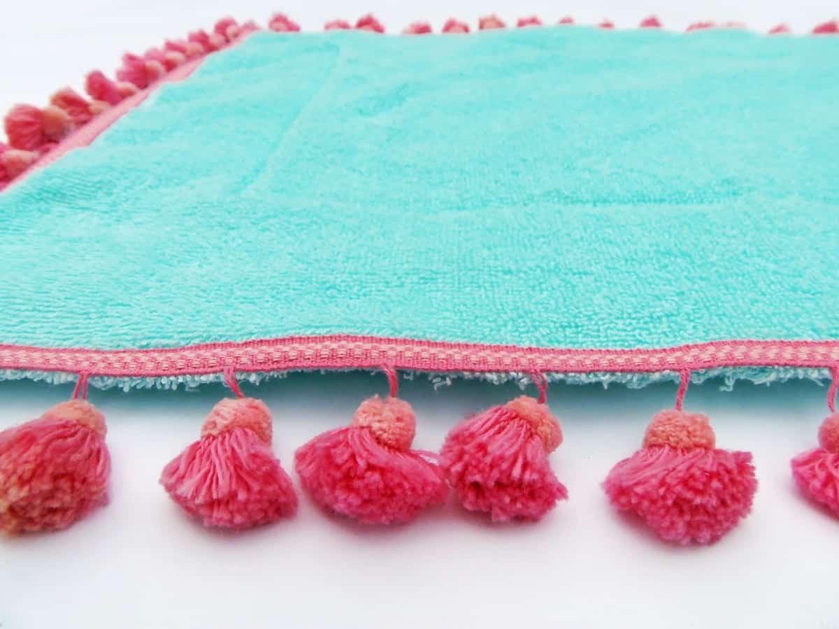 Closeup of Bath Mat Runner With Tassels